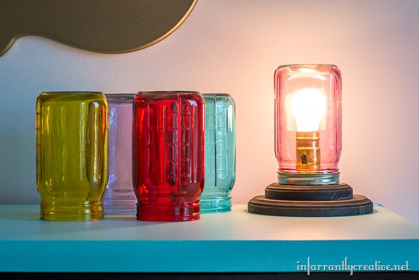 colored mason jar lamp