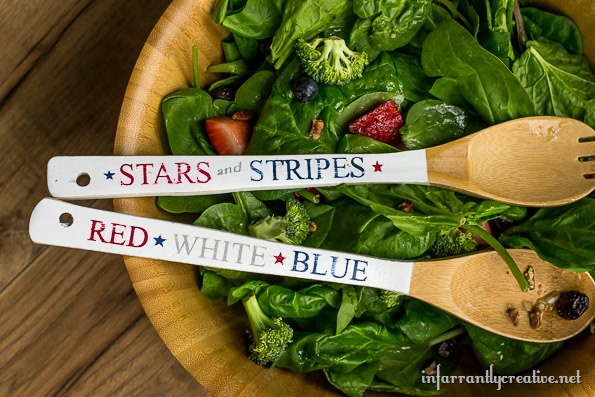 red white blue serving ware