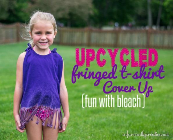 Upcycled Fringe T-Shirt Cover Up
