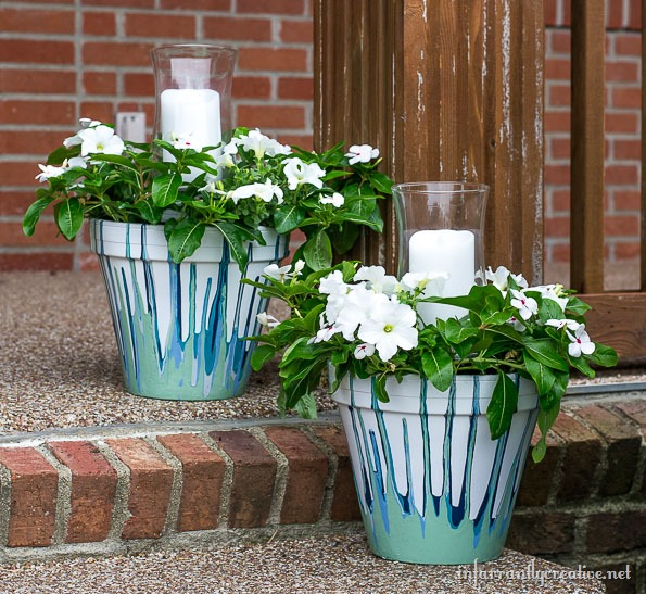 Painted Drip Pots with Candles and Flowers