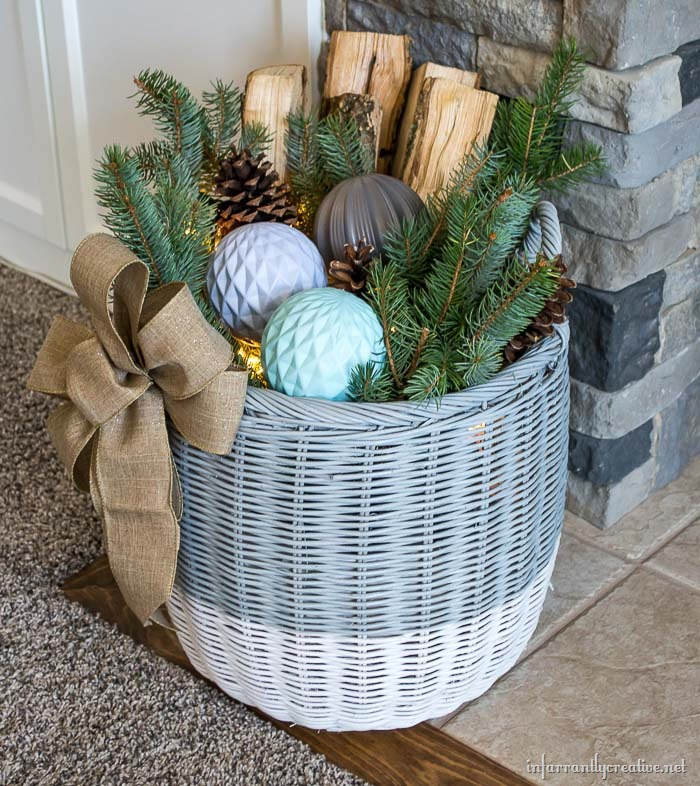 Winter Woodland Basket with Lights
