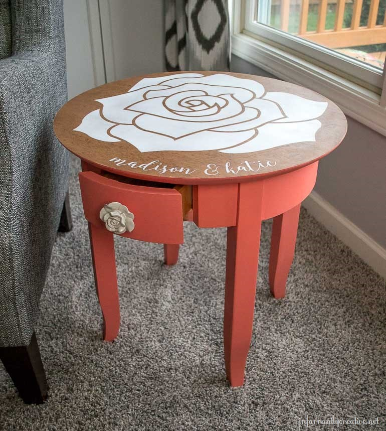 Personalized Rose Accent Table