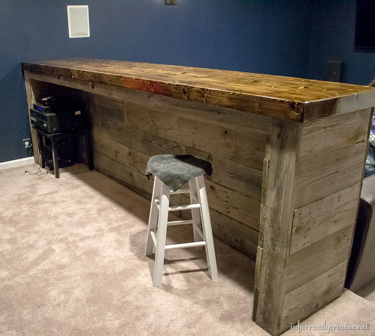 Man cave wood pallet bar free diy plans for Cost to build a bar in basement