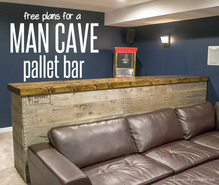 Man cave wood pallet bar free diy plans for How to build a wall bar