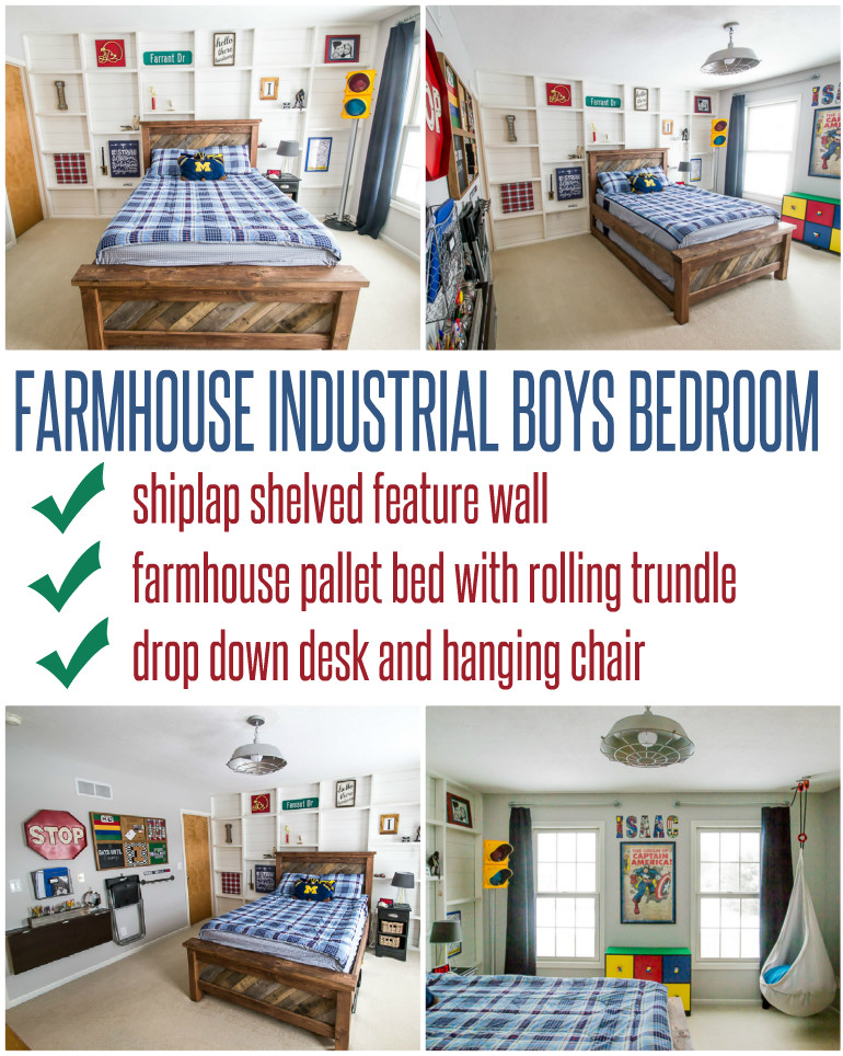 Farmhouse Industrial Boys Bedroom Reveal