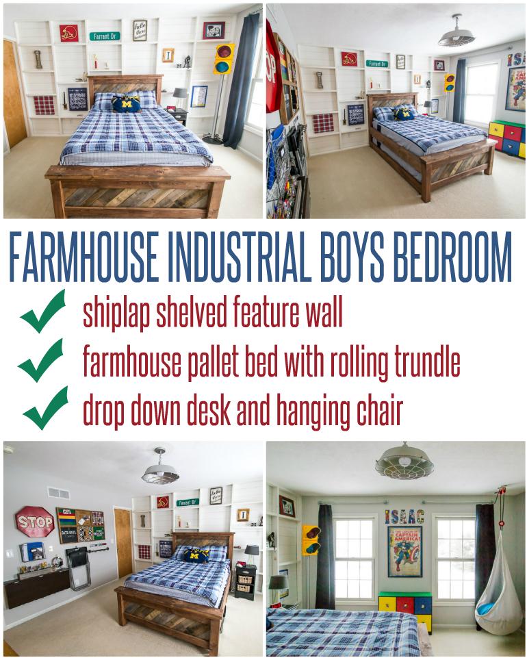 Farmhouse Industrial Boys Bedroom