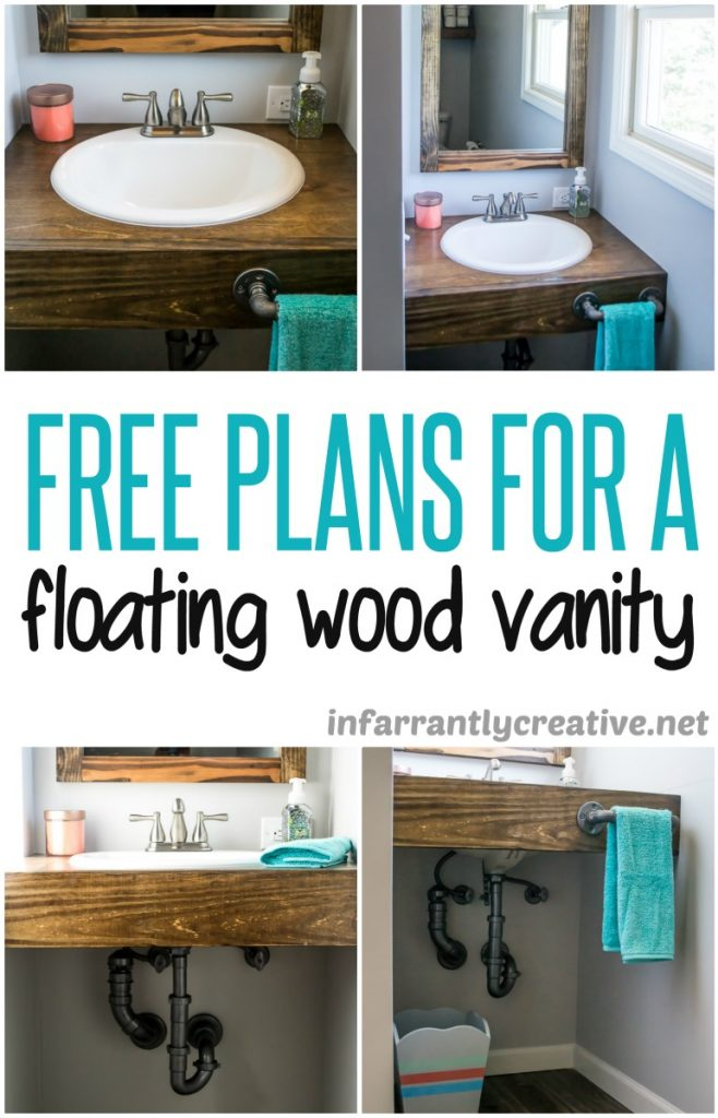 Diy floating wood vanity infarrantly creative for Diy wood vanity