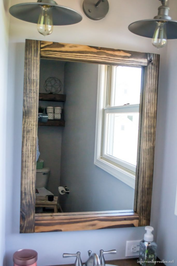 Diy scrap wood mirror for Diy wood vanity