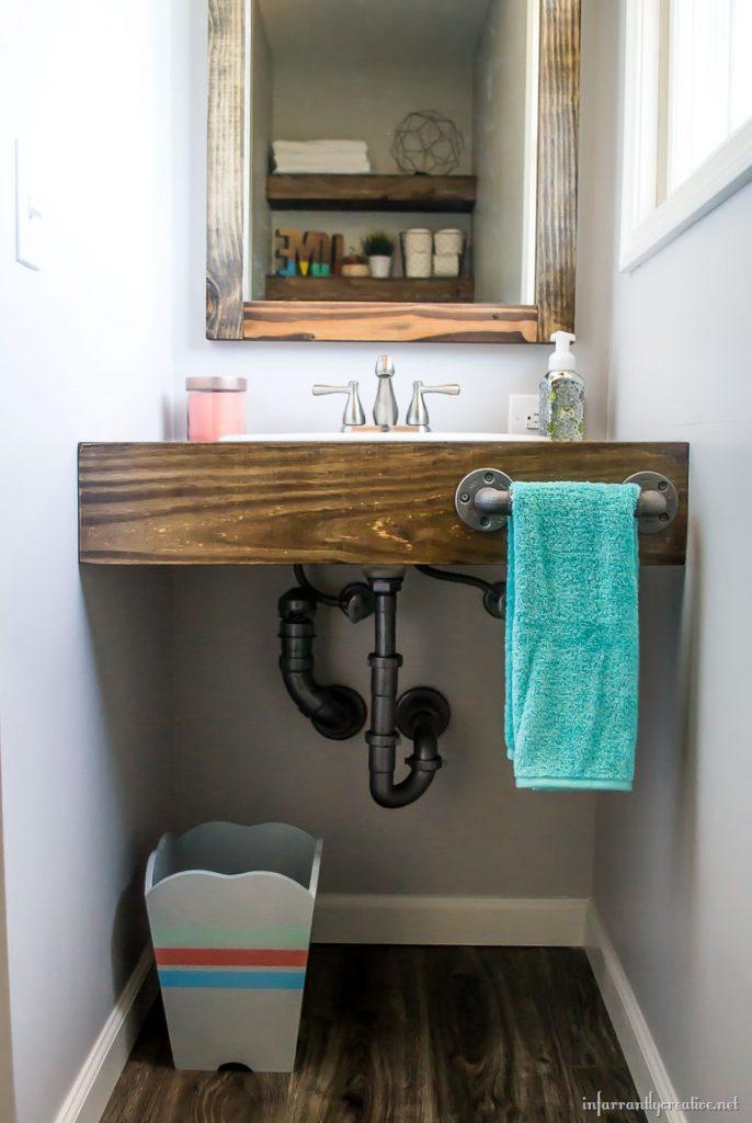 diy floating wood vanity. Black Bedroom Furniture Sets. Home Design Ideas