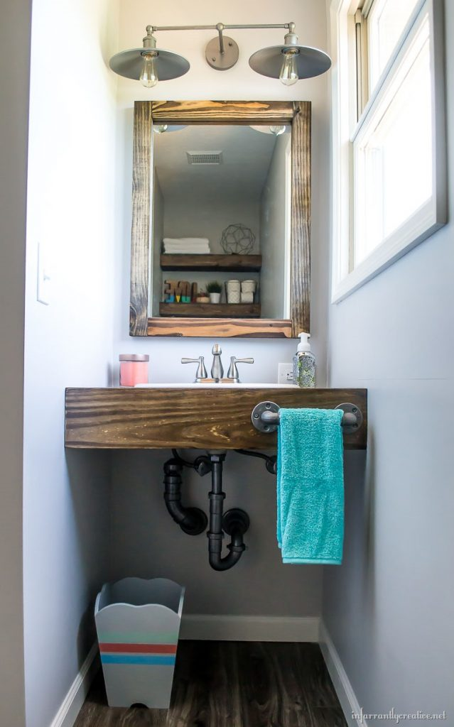 Diy floating wood vanity for Diy wood vanity