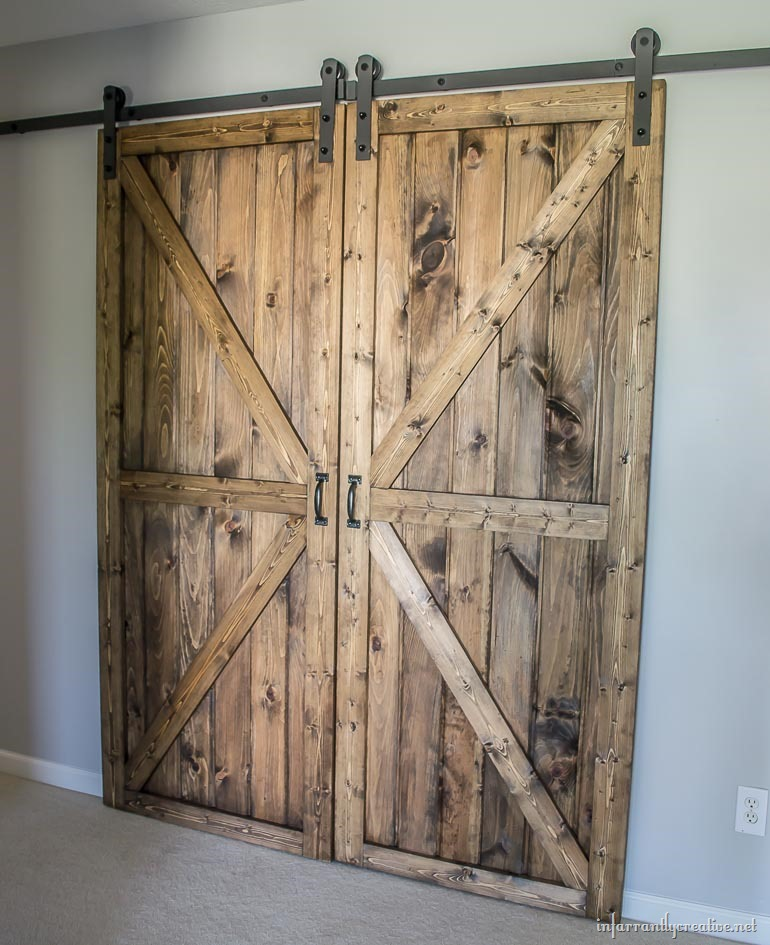 Diy double barn door plans for Dual track barn door hardware