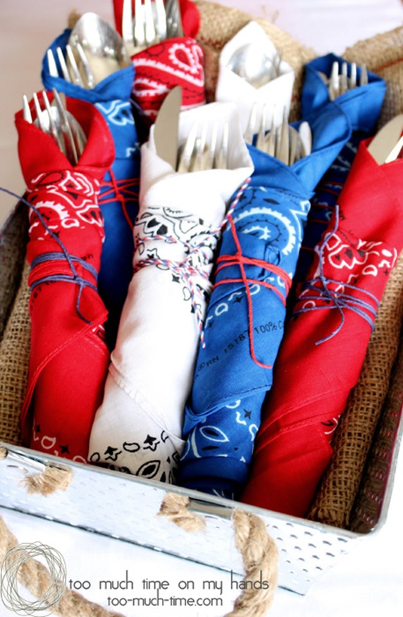 Wrap utensils with red, white, and blue bandanas at your Fourth of July party!
