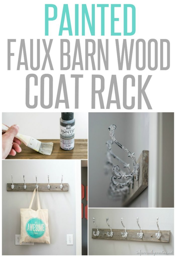 Barnwood Coat Rack {Using Paint To Create a Barnwood Look}