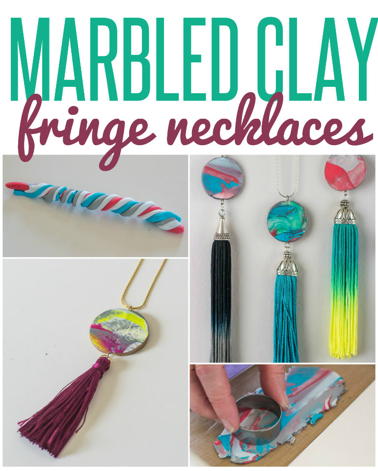 Marble Clay Pendants with Fringe Tassels